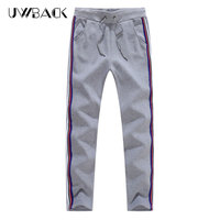 Uwback Thick Sweatpants Men 2017 Winter Striped Fleece Warm Causal Pants Gray Black Elastic Waist Trousers Cotton Pants 2XLXA391