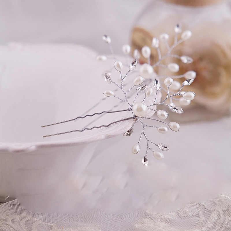2 uds. De horquillas para el pelo de flores de perlas de cristal de imitación para novia, tocado hecho a mano para novias, accesorios para el cabello