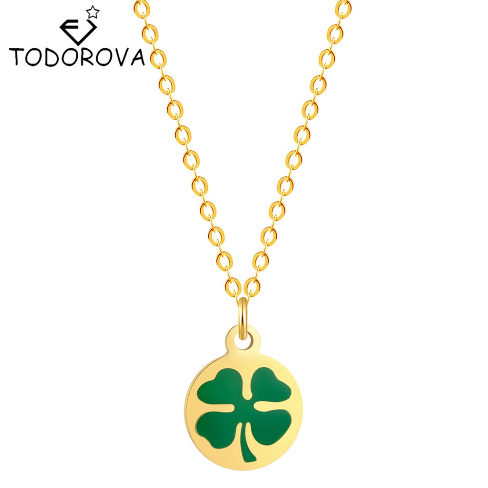 Green lucky shamrock necklace four leaf clover charm emerald green - Todorova Long Necklaces Green Lucky Four Leaf Clover Pendant Necklace For Women Valentine S Day Gifts Dropshipping