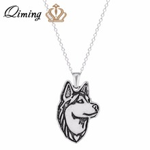 QIMING Wholesale Pendant Necklace Siberian Husky Jewelry Pendant and Necklace For W Great for all the Dog  For Girl Gift