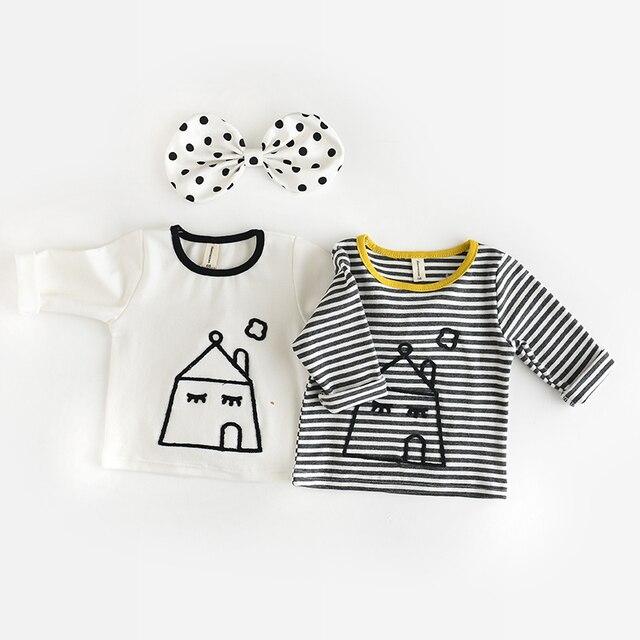 Новорожденных девочек одежда с длинным рукавом мультфильм дом шаблон девушка причинно топы о-образным вырезом полоса одежда новорожденного мягкие clothing