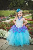 2017 Hot Sale Girls Beautiful Dresses Children Clothes Summer Party Light Blue Girl Crochet Top Dress