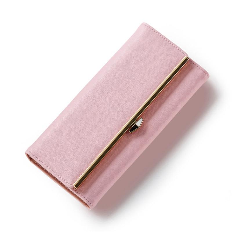 Latest Elegant Women Leather Wallet Fashion Lady Portable Multifunction Long Solid Color Change Purse Hot Female Clutch Carteras