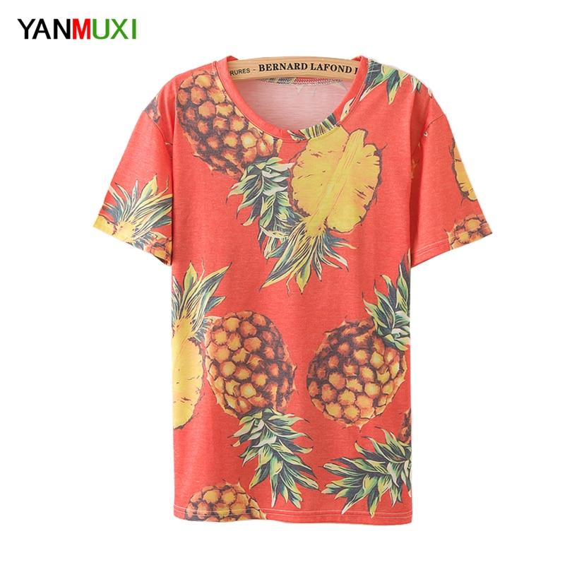 Womens Summer T-Shirt Tops Short Sleeve Shirt Casual Pineapple Tee Blouse