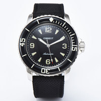 45mm corgeut mostrador preto super luminoso sub rotativo moldura mecânica relógio automático dos homens