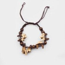 1 шт. Тибетский Племенной коричневый настоящий Як Кость волк зуб Браслет «зуб» Регулируемый хлопковый шнур с деревянными бусинами ювелирных изделий