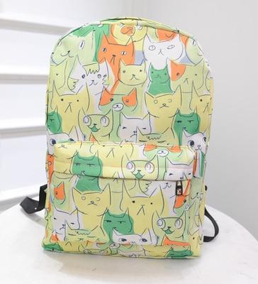 Cute Cat Canvas Backpack Women Rucksack College Preppy Style School Bags For Teenagers Girls Large Capacity Printing Backpack