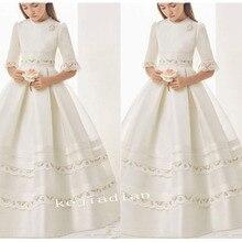 Платье для первого причастия, платья для девочек из атласа в Имперском стиле, с коротким рукавом, верхний край декорирован кружевом для девочек в цветочек, держащих букет невесты на свадьбе, платья для девочек, платье для торжеств