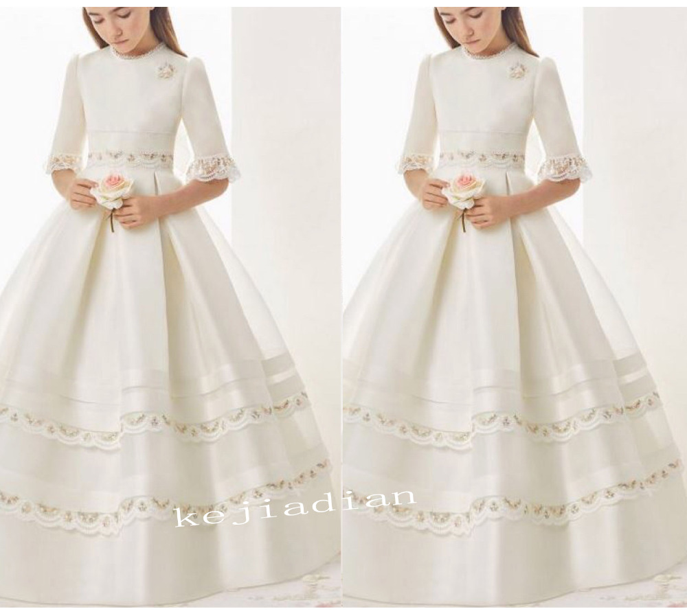 2019 first communion   dresses   for   girls   Satin Short Sleeve Empire Lace Edge   Flower     Girl     Dresses   for weddings   girls   pageant   dress