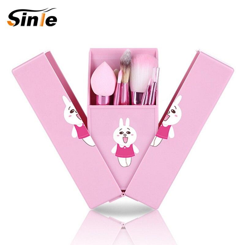 Hot Pro Cute Makeup Cosmetic Brush 8PCS Set Kit Mini Professional Facial Brushes Metal Box Black/Pink Cute Gift