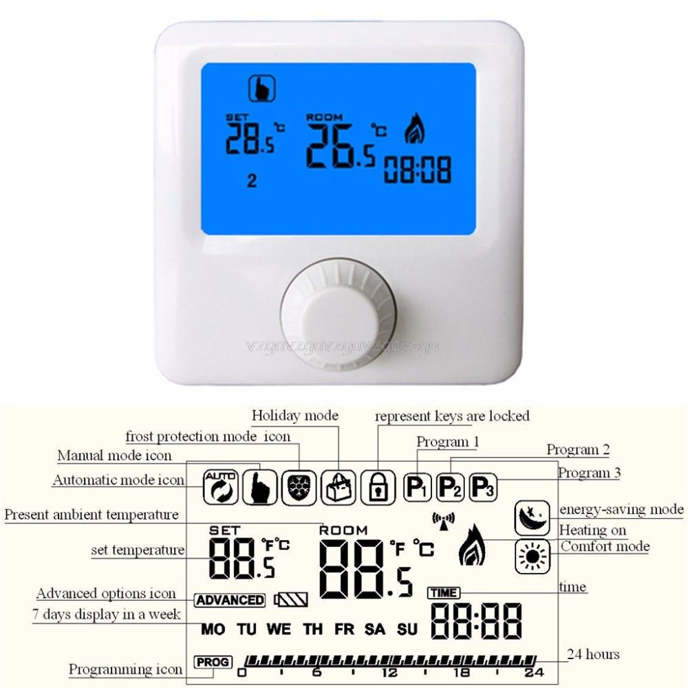 LCD Display Wall-hung Gas Boiler Thermostat Weekly Programmable Room Heating Thermostat Digital Temperature Controller O17 wireless programmable room heating thermostat for electric heating panel radiator actuator gas boiler digital temperature screen