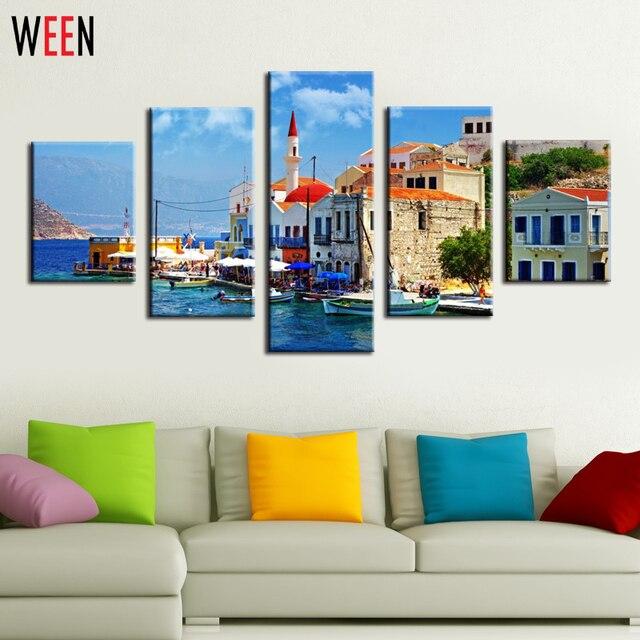 Venedig Watertown Wand Bild Leinwand Kunst Für Wohnzimmer Moderne ...