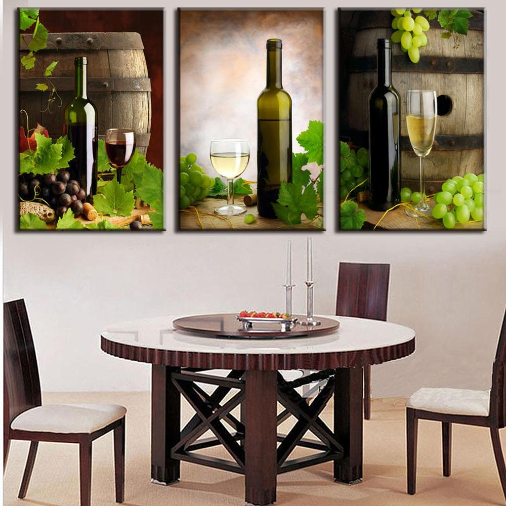 Newest 3 pcs set modern spray canvas painting wine and for Wine wall art decorating dining room