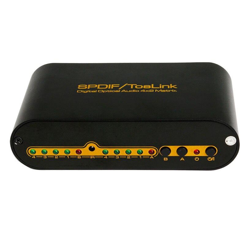 Новый SPDIF/Toslink Цифровой оптический аудио 4*2 матрица 4 входа 2 выхода Поддержка DTS-HD/ dolby TrueHD/lpcm2.0/DTS/dolby-ac3/DSD