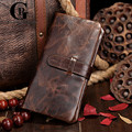 Cowhide! Vintage Design Men Wallets Wax Oil Skin Long Wallet Genuine Leather With Card Holder Coin Pocket Clutch Purse