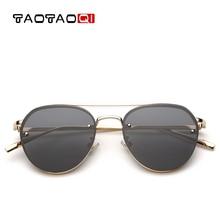 Fashion Classic Sunglasses Women Brand Designer UV400 Personality Elliptical Sun Glasses Retro Metal Large Frame Ocean Lens