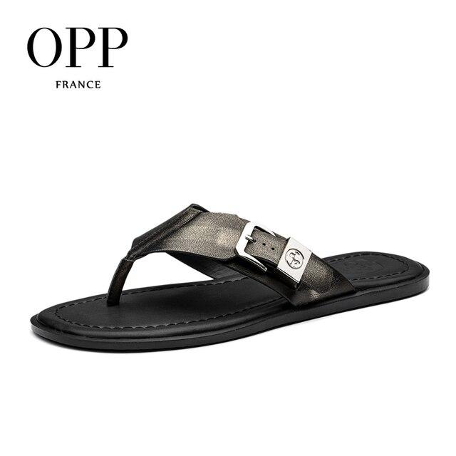 OPP 2017 Naturel En Cuir Chaussures Homme Flip Flops Été Hommes de  véritable Cuir Flip Flops