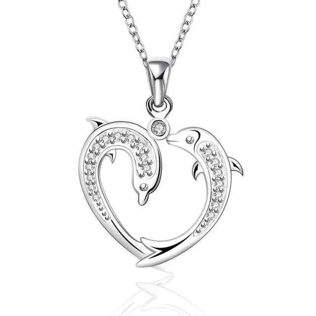 83daec1ca506 Venta caliente Nueva Moda doble juego Delfín corazón Colgante de plata 925  Collar de Cadena de