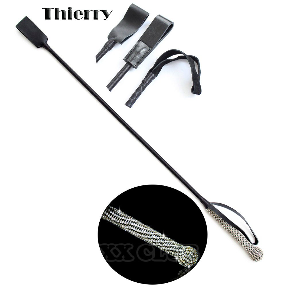 Thierry 68cm Crystal leather horse whip Spanking Bondage Slave Fantasy Fetish Restraints Sex Toys For Couple Flirt adult game