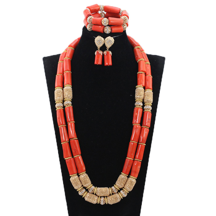 Long Style Coral and Dubai Gold African Beads Necklace Jewelry Set Real Coral Beads Necklace Set Long Style Coral and Dubai Gold African Beads Necklace Jewelry Set Real Coral Beads Necklace Set New Bridal Jewelry Sets CG022