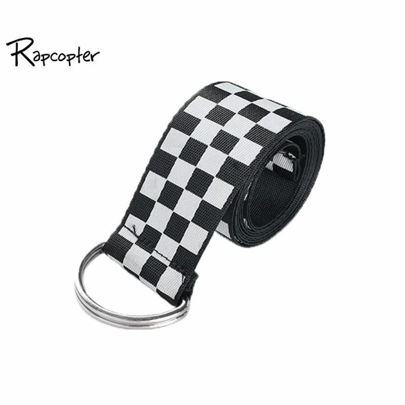 Rapcopter Women Checkerboard Belts Cummerbunds Canvas Waist Belts Casual Checkered 2018 Waistband 135cm Black White Plaid Belt belt