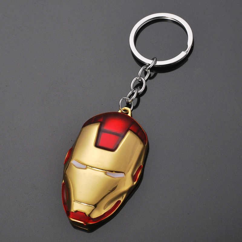 2019Movie Superhero The Avengers Iron Man Mask Metal Keychain Keyrings Pendant Accessories Key Chain chaveiro llaveros For Fans