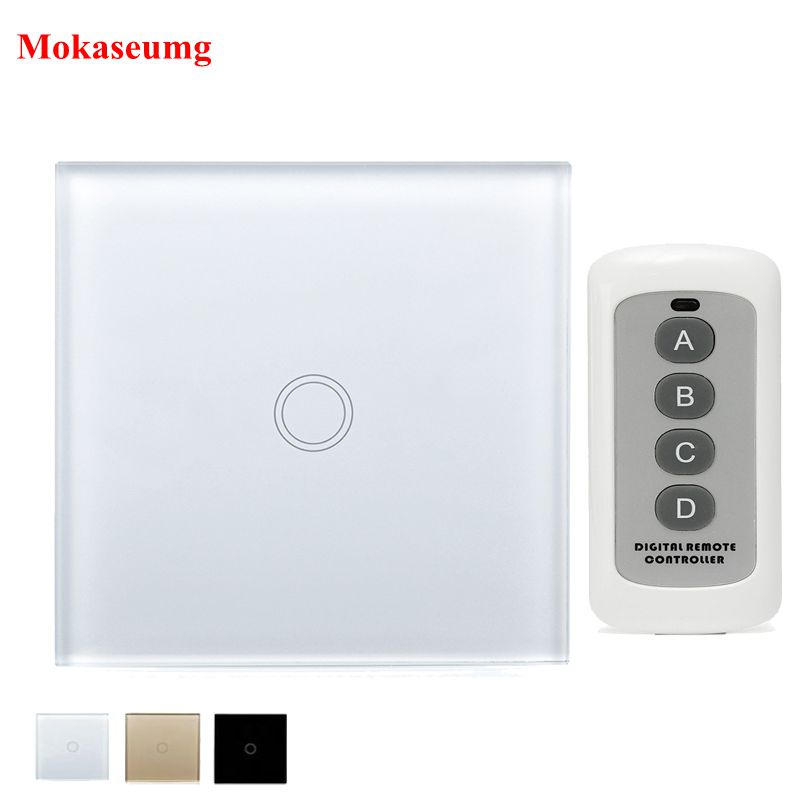EU Standard Wireless Remote Touch Switch 1 gang 1 way 220V RF 433Mhz Crystal Glass Panel Wall Light Touch Switch Smart Home DIY mvava 3 gang 1 way eu white crystal glass panel wall touch switch wireless remote touch screen light switch with led indicator