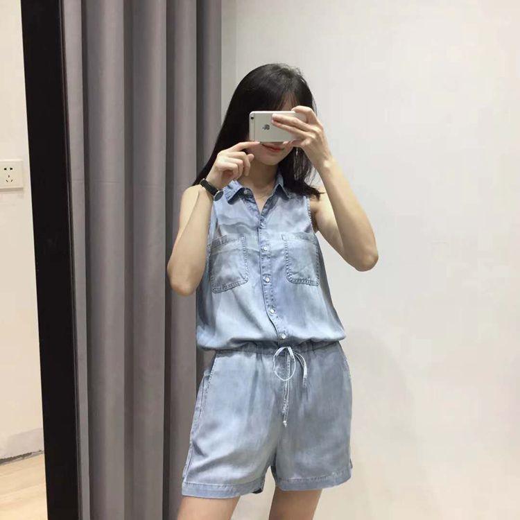 Overalls Playsuits Drawstring Female Plus-Size Casual Summer Women Fashion Denim Wasit