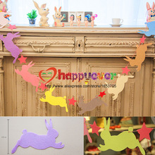 Easter Bunny Kids Party Decoration Flag Bunting Garland Fashion Non-Woven Fabric Bunny Star Garland Rabbit Easter Party Supplies