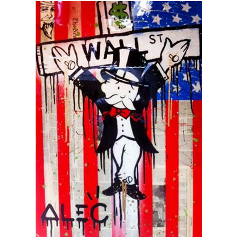 Handmade alec canvas pop art Alec Graffiti art money on canvas wall urban pictures for living room street art
