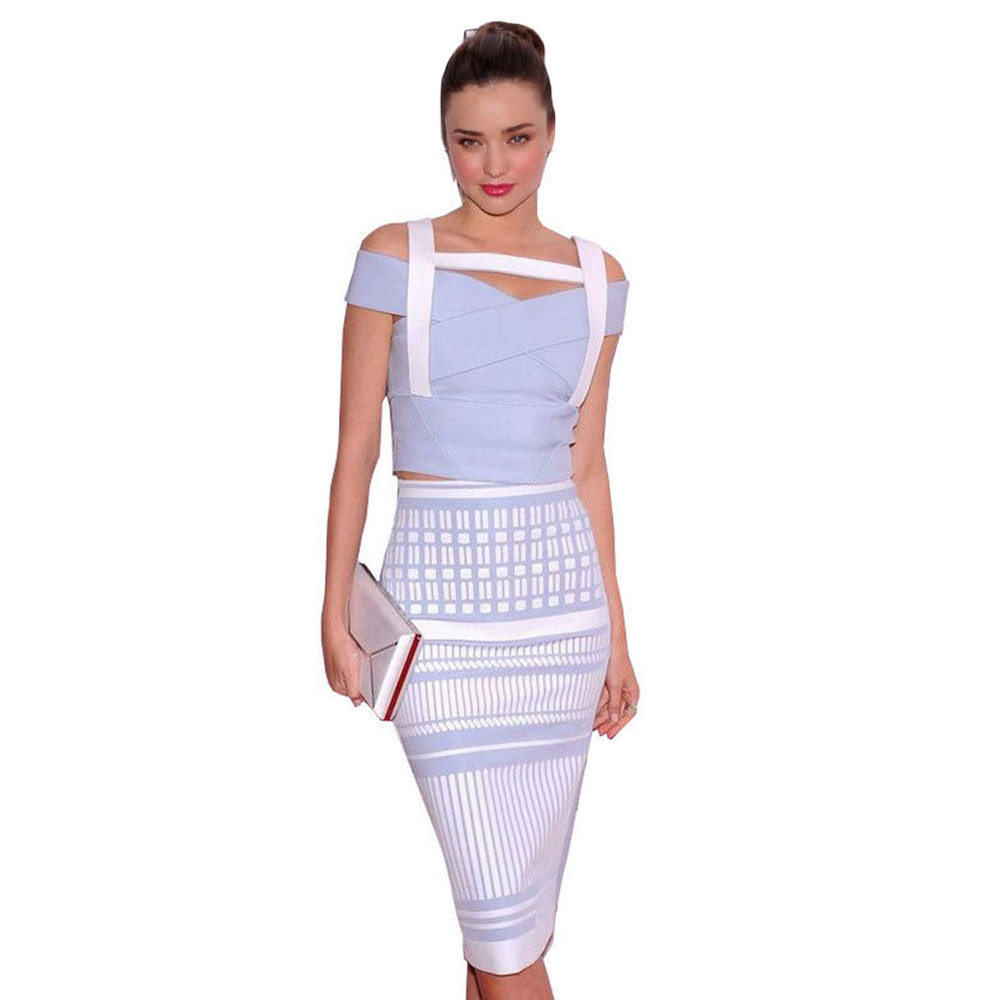 Free Shipping 2 Piece White And Blue High Quality Women s Sexy Jacquard Bandage dress
