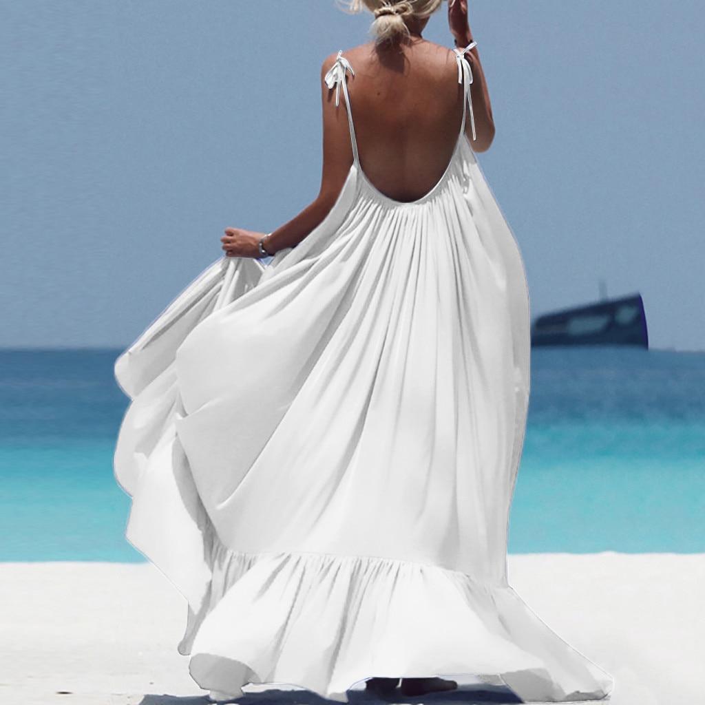 Boho Maxi Dress Women Spaghetti Strap Backless Long Dress 2019 Sexy Summer Party Bohemian Beach Dresses Vestidos Robe Femme 2
