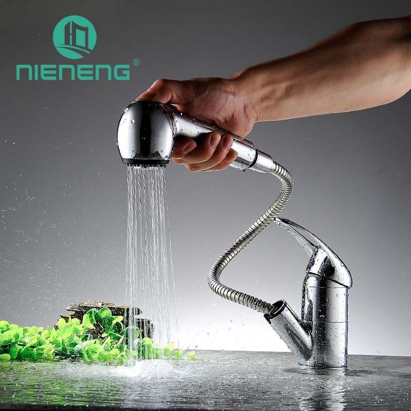 Nieneng Kitchen Faucet Pull Out Modern Polished Chrome Single Handle Contemporary Swivel Spout Sprayer Sink Faucet ICD60316 nwe contemporary double curved single handle pull out spout chrome finished one hole kitchen faucet