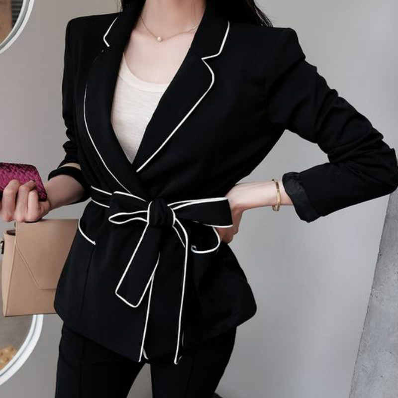Woman Deep V-Neck Lapel Jacket Hit Color Slim Suits Women Mini Blazer Long-sleeved Coat Cardigan With Belt