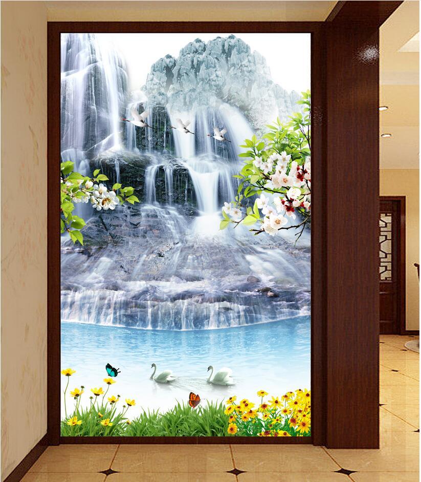 Benutzerdefinierte mural 3d wallpaper schwan wasserfall landschaft ...