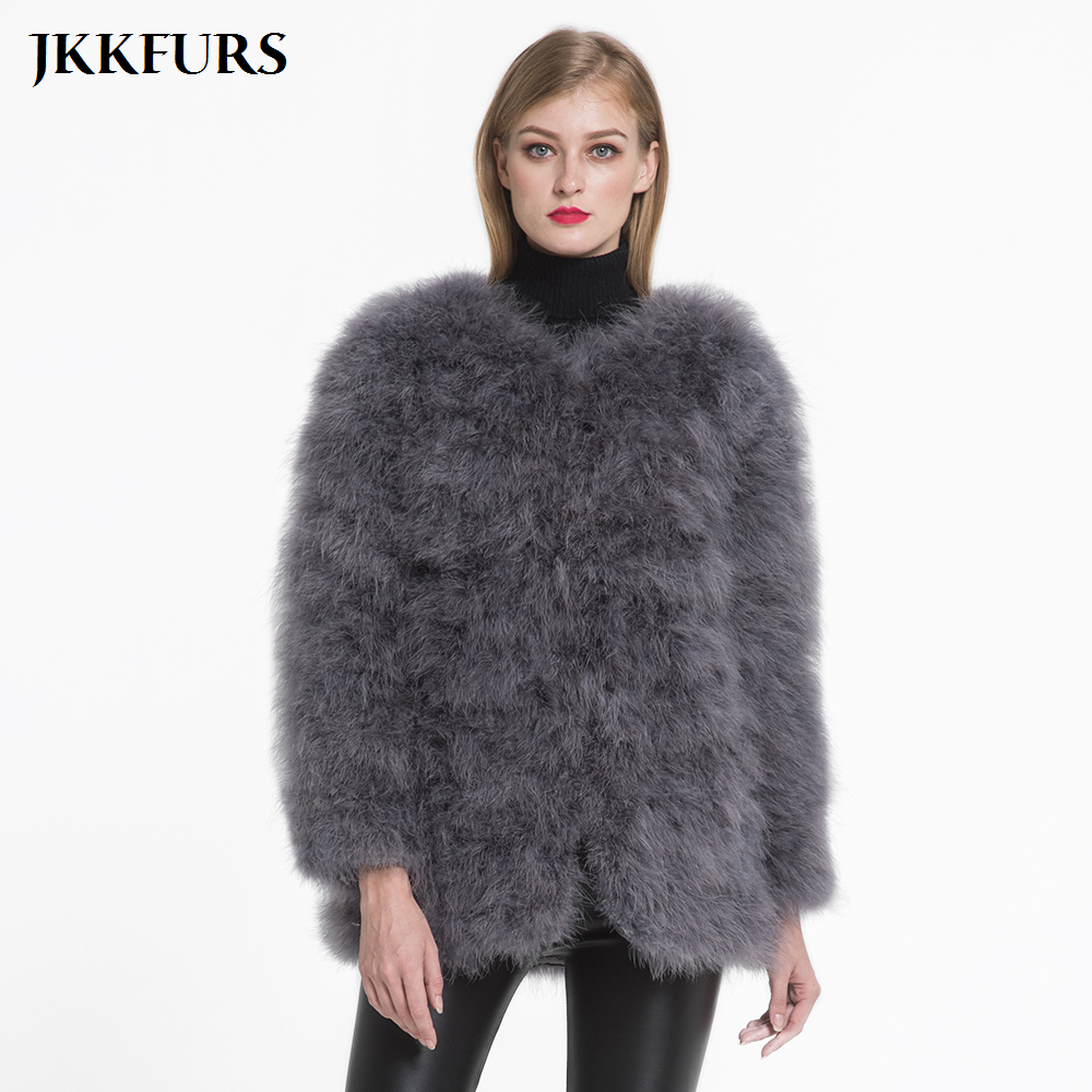 2019 New Women Real Fur Coat Long Style Genuine Ostrich Feather Fur Winter Warm Jacket Fashion
