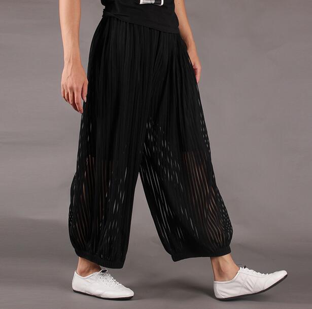 Preto verão fina solta do punk saia bloomers calças pés dos homens calças harem pants dos homens calças skinny twinset transparente roupas fino