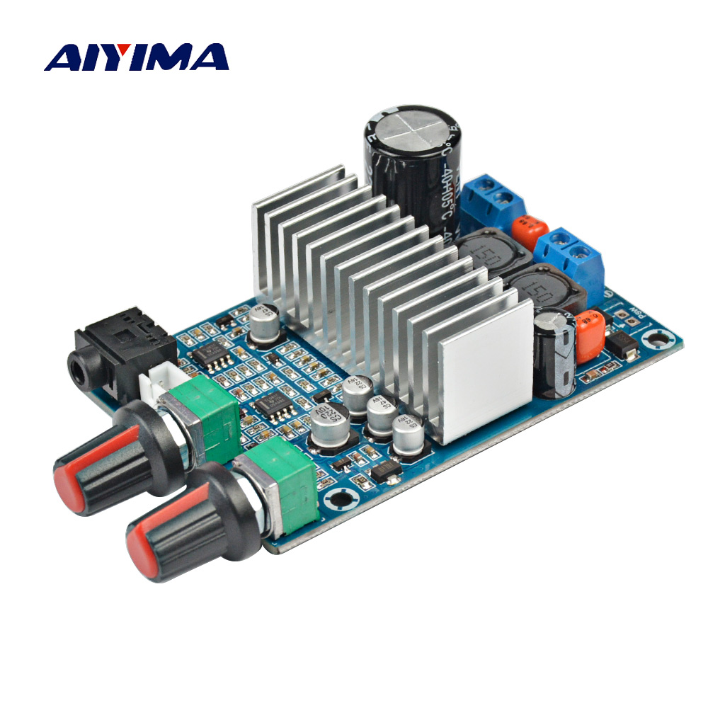 Aiyima TPA3116 Subwoofer Amplifier Board TPA3116D2 Audio Amplifiers 100W Bass Output DC12-24V aiyima tpa3116 4 1 bluetooth amplifiers audio board digital class d amplifier 4 50w 100w amplificador audio 24v car subwoofer