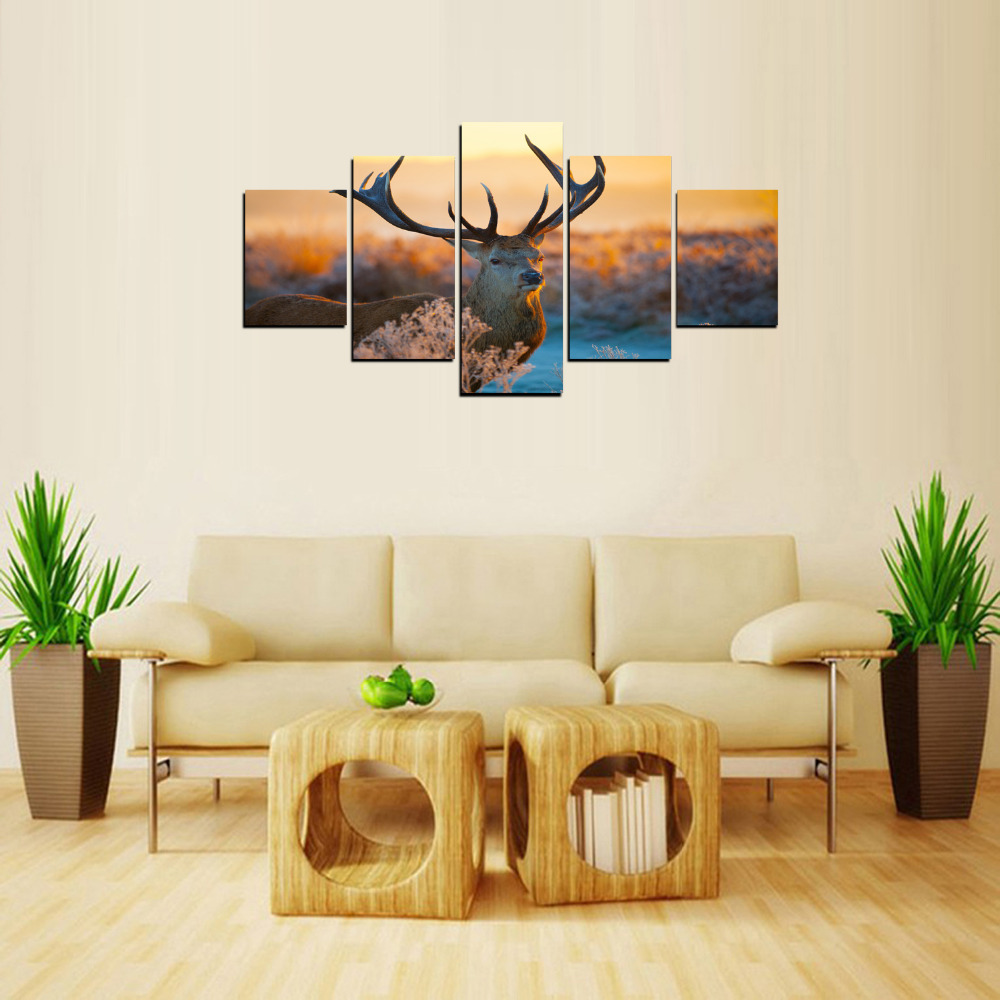 5 Panels ReinDeer With Big Angle Canvas Print Painting for Living ...
