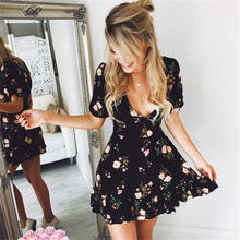 2018 Womens V-Neck Boho Floral Chiffon Summer Wrap Bandge Party Evening Beach Short Mini Dresses Sundress(China)