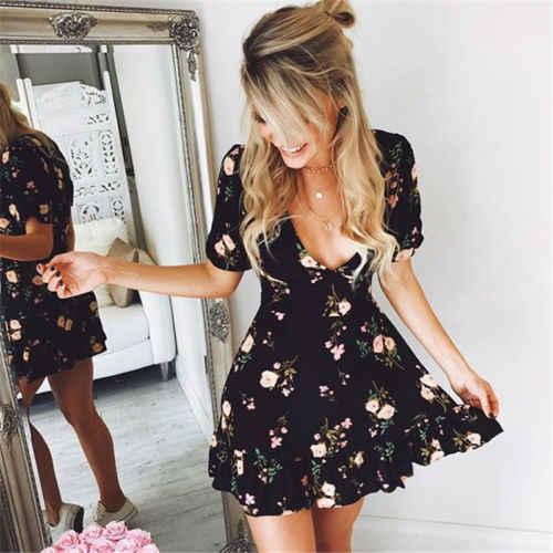 2018 mujeres con cuello en V Floral de Boho de verano Bandge de noche de fiesta de playa corto Mini vestidos vestido
