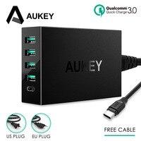 AUKEY 5 портов Быстрая зарядка 3,0 Whit type C USB Мульти USB быстрое турбо настенное зарядное устройство телефон настольный совместимый для всех телеф...