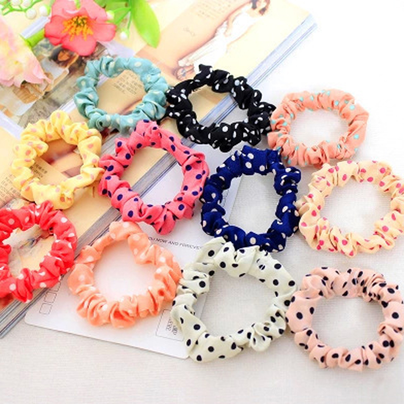 30PCS Multicolor Dot Cloth Women Elastic Hair Bands Scrunchy Girls Hair Tie Ring Rubber Rope Ponytail Holder Headwear Headbands 50pcs black hairband hair elastic bands for ladies elastic ring hair scrunchy tie gum headbands girls hair accessories for women