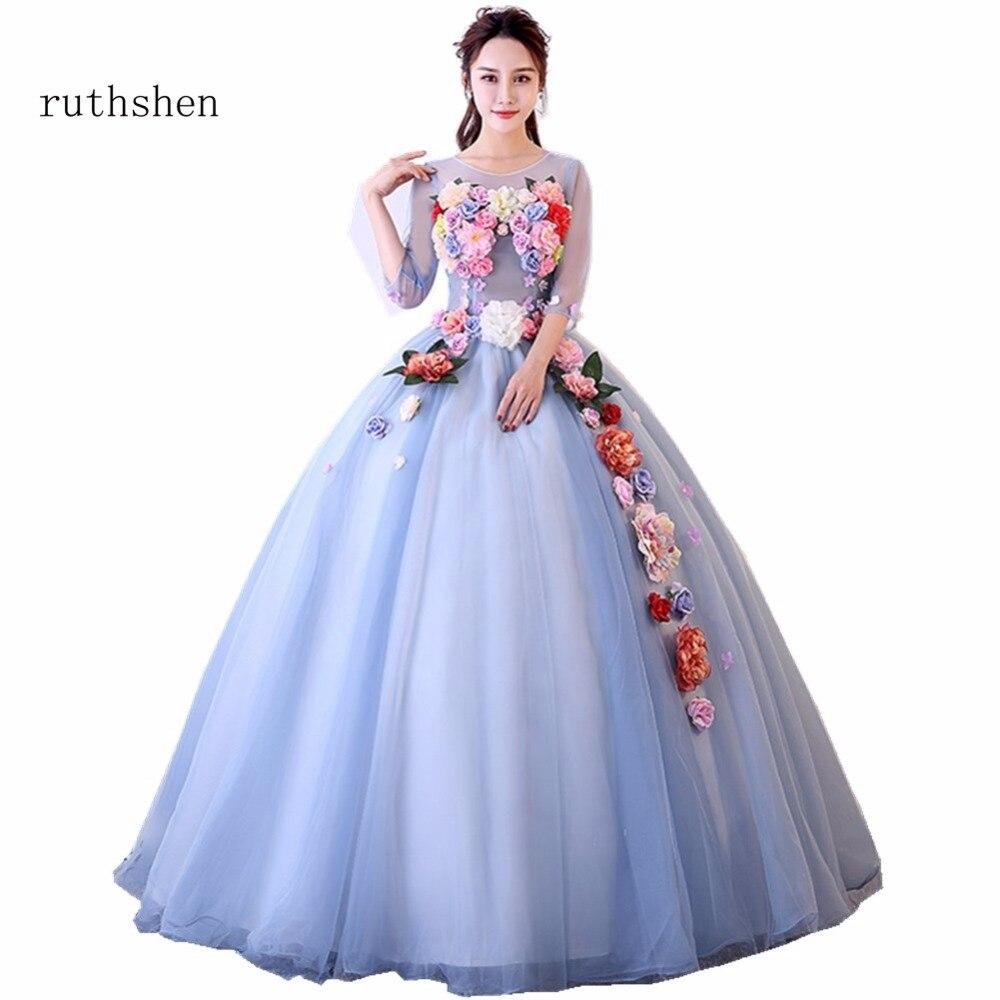 ruthshen Light Purple Long Prom Dresses 2018 Half Sleeves Flowers ...