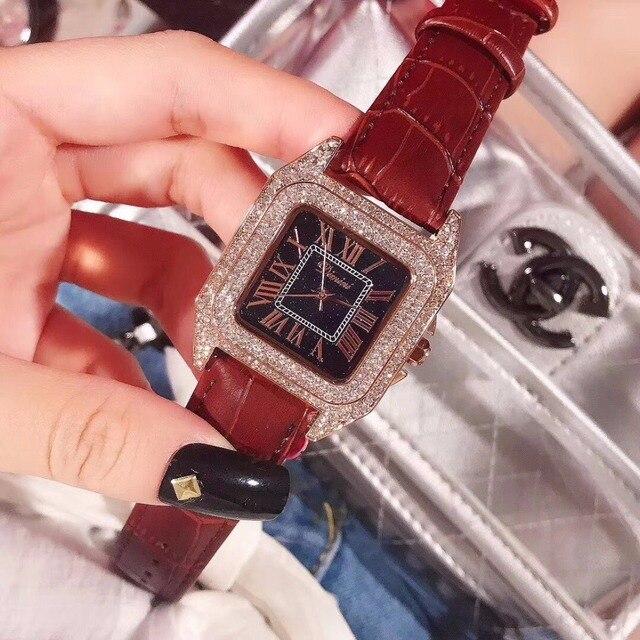 Di lusso Pieno di Diamanti Donne Della Vigilanza del Braccialetto Quadrato In Numeri Romani di Cuoio di Modo del Quarzo di Strass orologi Nuovo Elegante Orologio Femminile