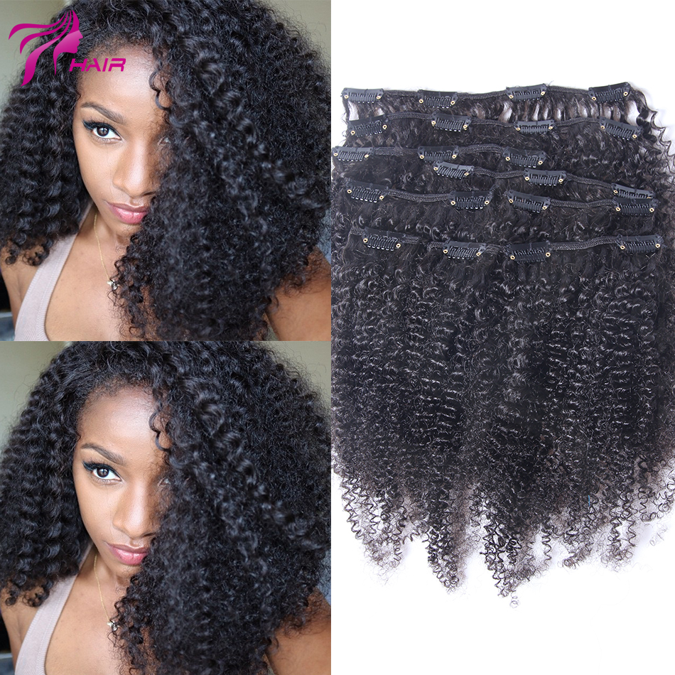 Virgin Brazilian Clip In Extension Afro Kinky Curly Clip In Brazilian Hair Extension Natural Black Clip In Human Hair Extensions