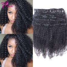Virgin Brazilian Clip In Extension Afro Kinky Curly Clip In Brazilian Hair Extension Natural Black Clip In Human Hair Extensions