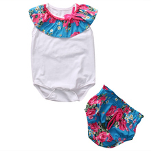 2Pcs Sets Newbron Infant Baby Girls Clothes Floral Romper Jumpsuit Bodysuit Tops+Bottoms Kids Girls Summer Cotton Outfits Set