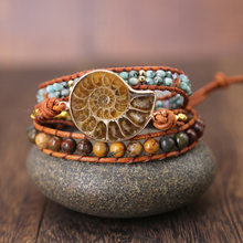 Ammonite Fossils Seashell Snail charm Handmade wrap bracelet Ocean Reliquiae Conch Animal boho braied bracelet for Men&women(China)