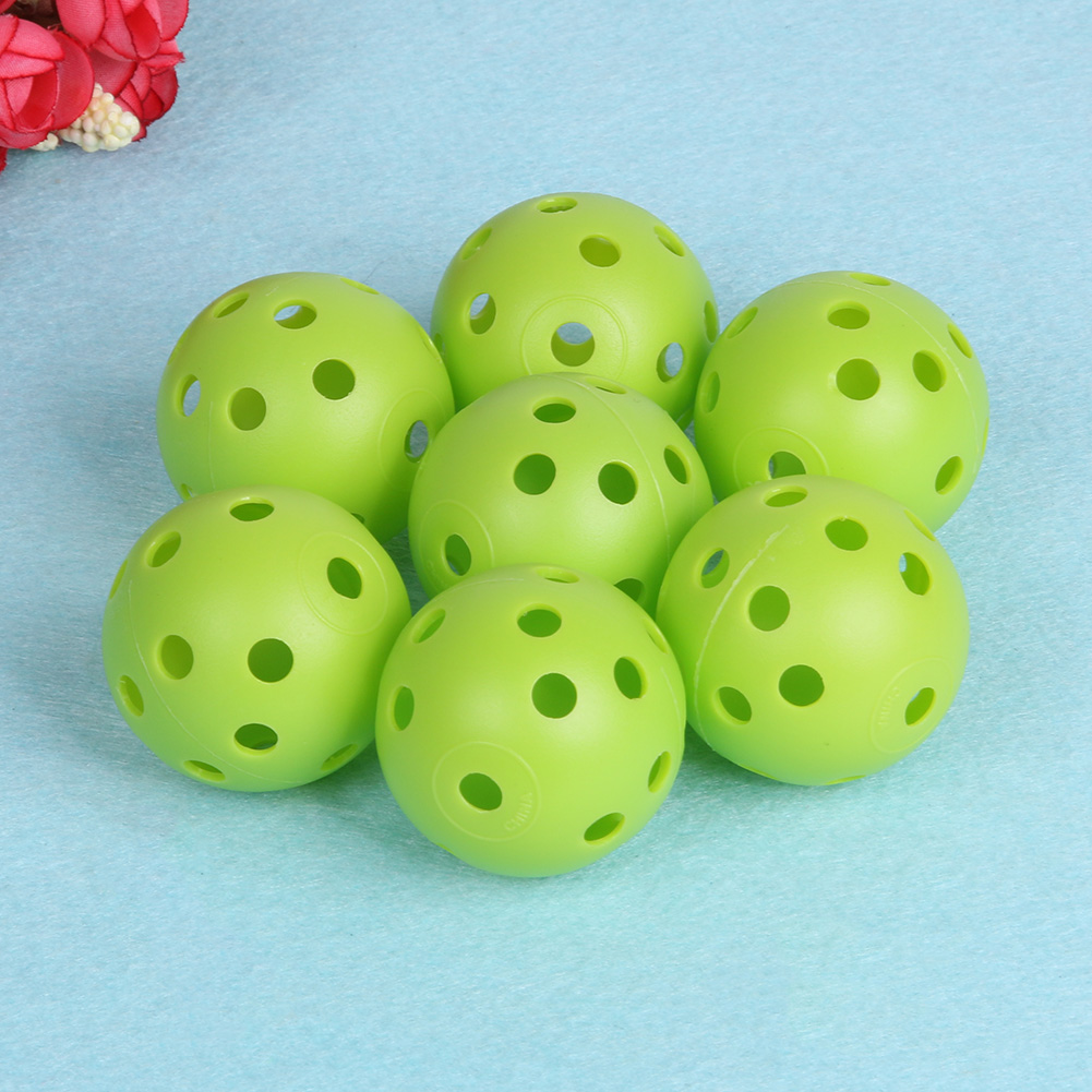6pcs/Set Golf Training Plastic Balls Whiffle Airflow Hollow Golf Practice Green Round Training Ball Toy Outdoor Playing Balls
